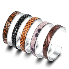Custom Fashion Women Ladies Blanks Leather Stainless Steel Metal Silver Cuff Bangle Bracelet