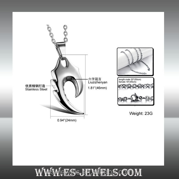 China supplier knife shaped pendants for boyfriend stainless teel pendants necklaces