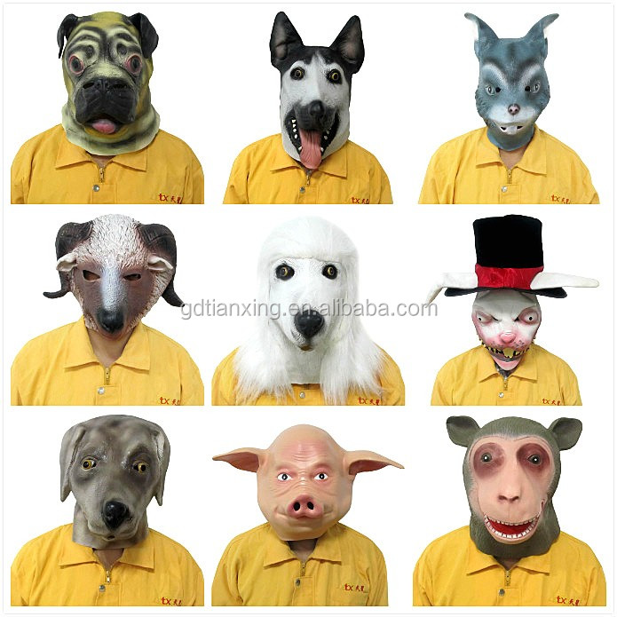 CE, EN 71, ROHS cetified eco-friendly rubber dog head masks