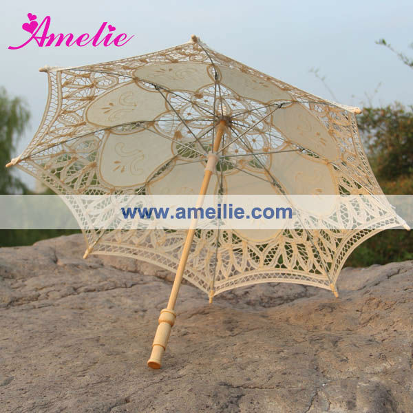 A0105 White and beige kids flower girl umbrella