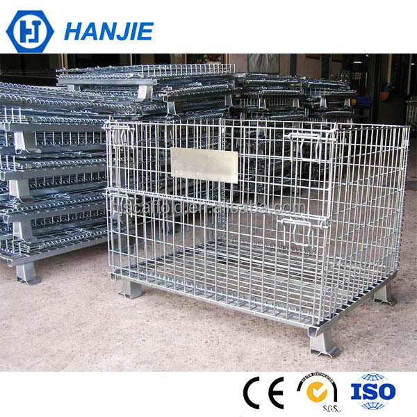 Collapsible stackable steel metal wire pallet container cages for storage