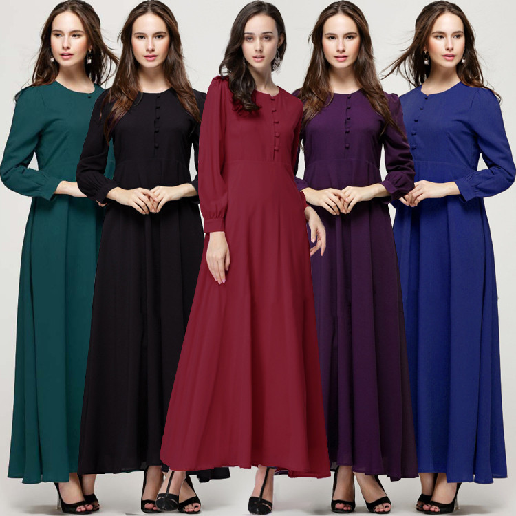 Latest Abaya Designs 2016 New Style Muslim Long Sleeve Maxi Dress
