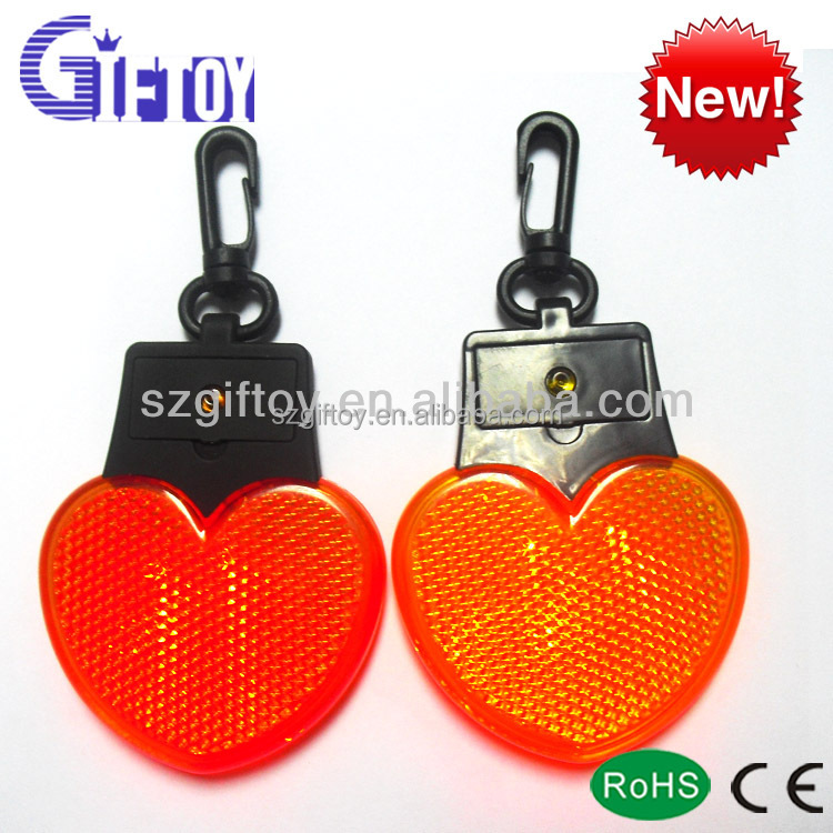 Heart Shape Light Up Safety Reflector Keyring with Carabiner