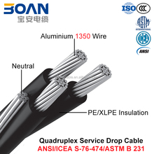 Quadruplex Service Drop Cable, AAC/AAAC/ACSR Neutral, Twisted 600 V Quadruplex (ANSI/ICEA S-76-474)