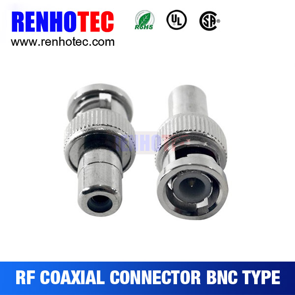BNC Male Plug to RCA Female RF Coaxial Connector for CCTV Video