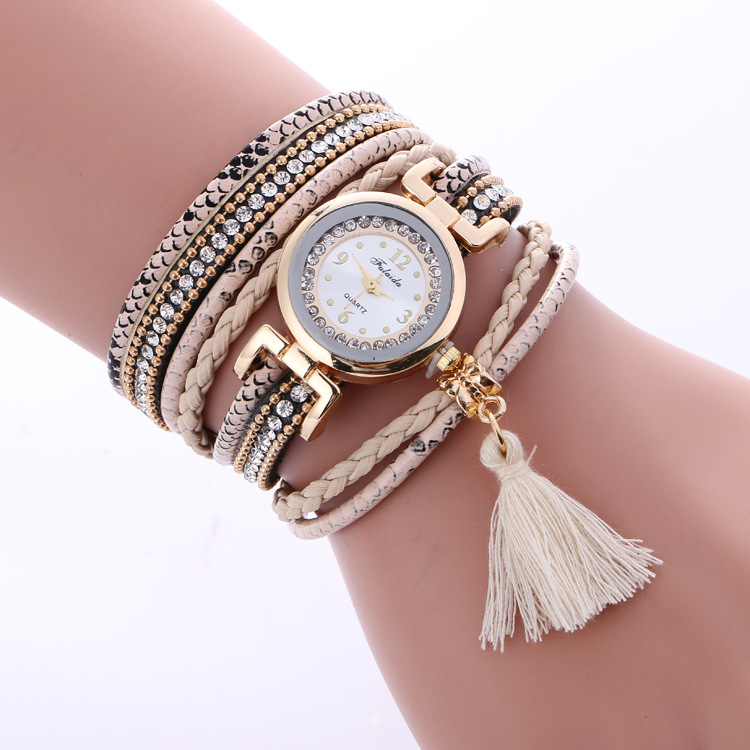 2016 NEW fashion weave wrap rivet leather bracelet wrist watches LNW217