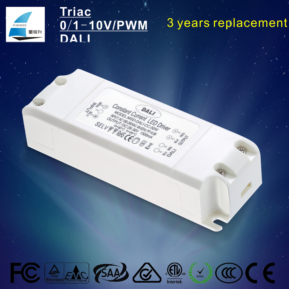CE SAA approved 50W Constant Current 1000mA,1500mA,1800mA Dimmable DALI LED Driver for downlight, panel light, ceiling light