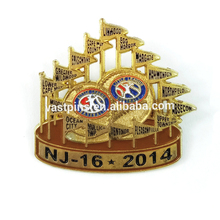 Wholesale Gold Plating Custom Soft Enamel Brass Metal Die Struck Enamel Lapel Pin USA Souvenir Badge