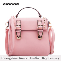 Wholesale metal studded China Fashion Designer Lady Leather Handbag