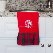 Monogrammed Holiday Plaid Hand Towel