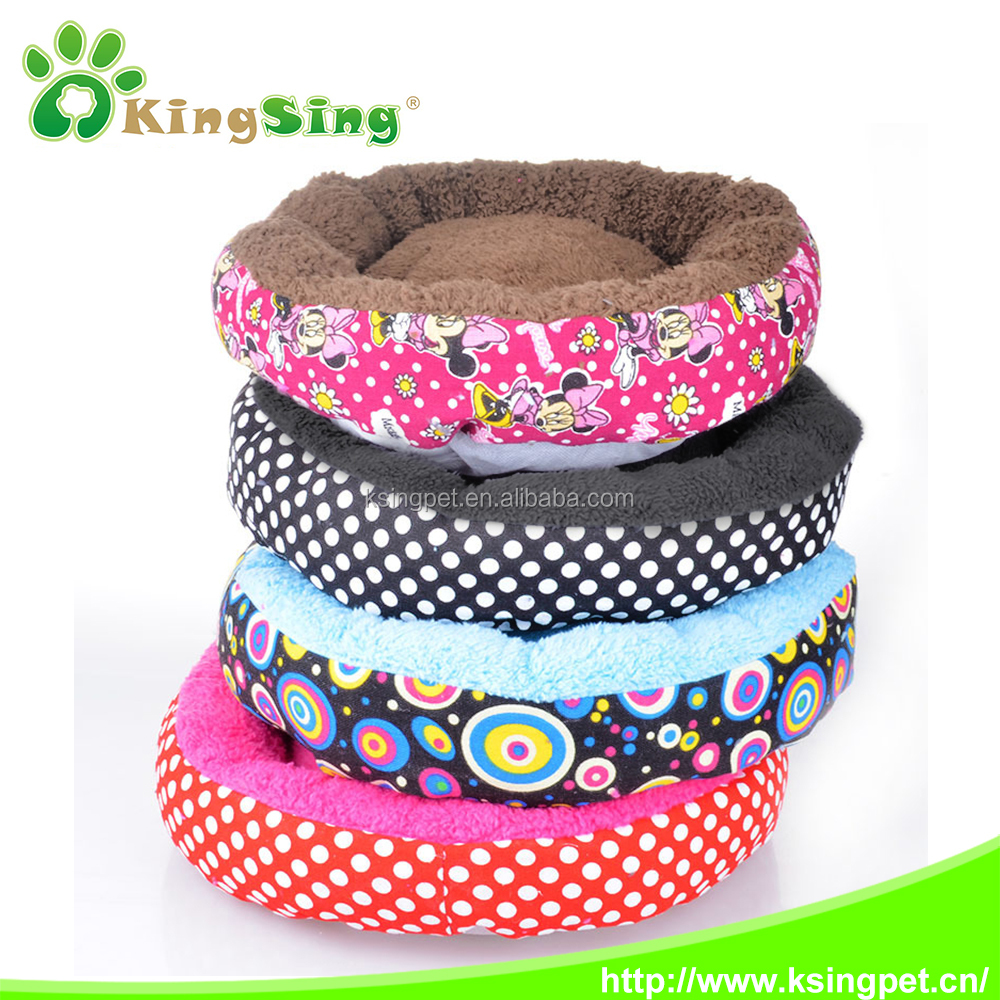 Super warm printed canvas cotton velveteen round pet nest, Bed Bed & Accessory Type and Dogs Application Dog Bed