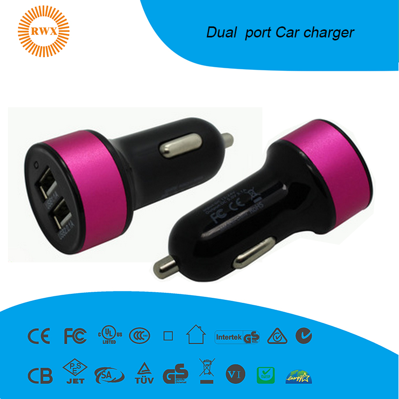 Double Speed Fast Charge Output Dc 5v 2.4a Universal Portable Dual Port Micro Usb Car Charger For Oem Factory Wholesale