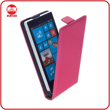 Hot Pink Genuine Real Protective Flip Leather Case Cover for Nokia Lumia 720