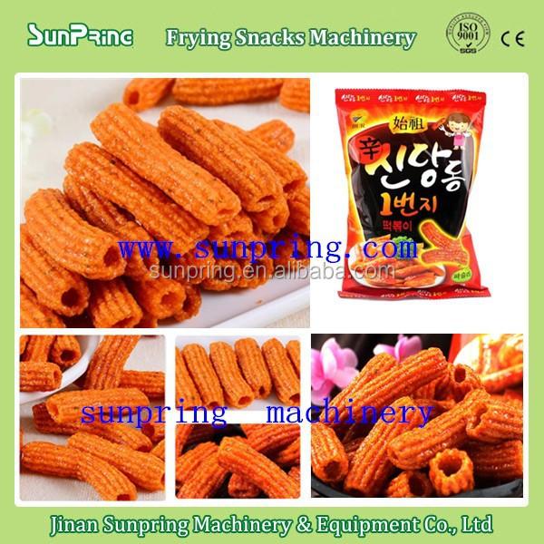 2015 newest frying pasta crispy south korea popular snack machine fried macaroni pasta snack processing line for sale