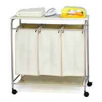 Wholesale hampers Laundry Cart and Sorter , wheeled laundry cart with ironing board OR401