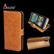 High quality top grain leaher phone wallet case for htc e8