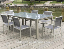 China Garden Furniture Powder Coating Aluminum Table Glass Top with Sling Dining Chair Aluminum Outdoor Furniture