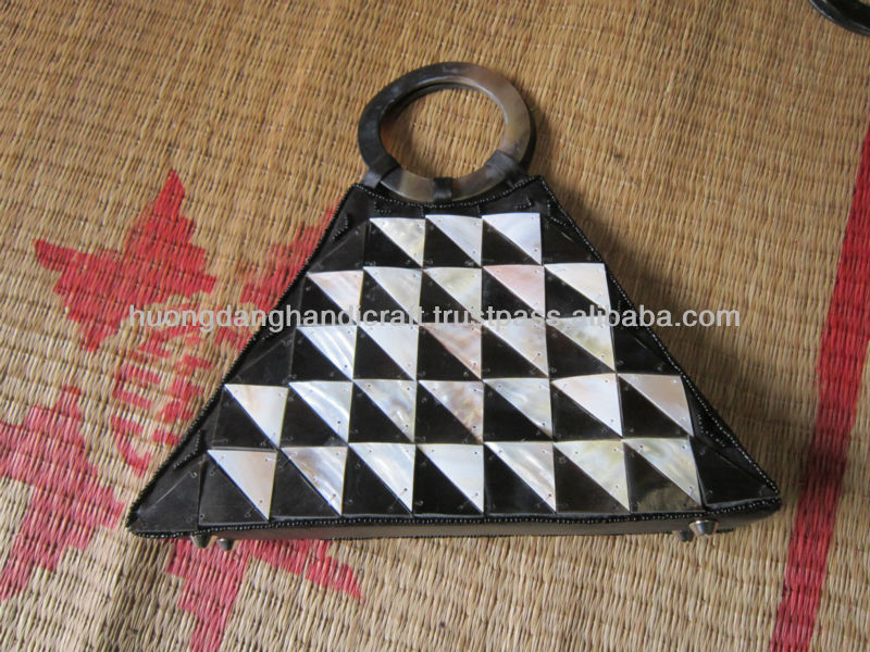 Seashell handbag, round horn handles seashell bag, rectangular Vietnamese shell bag
