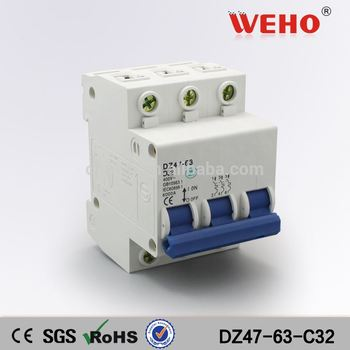 3P 32A C45 high quality Solar ac/dc electrical circuit breaker