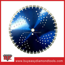 New design 350mm short teeth concrete saw blade with cooling holes