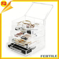 4 Drawers Acrylic Jewelry Box with Handles,plastic drawer Organizer