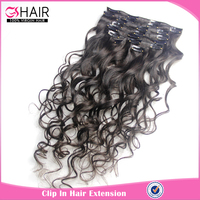 Best selling virgin remy human hair brazilian loose wave clip in hair extensions