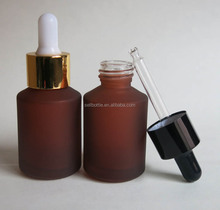 Wholesale oblique shoulder Red Color facial oil bottle and essential oil bottle with dropper 30ml