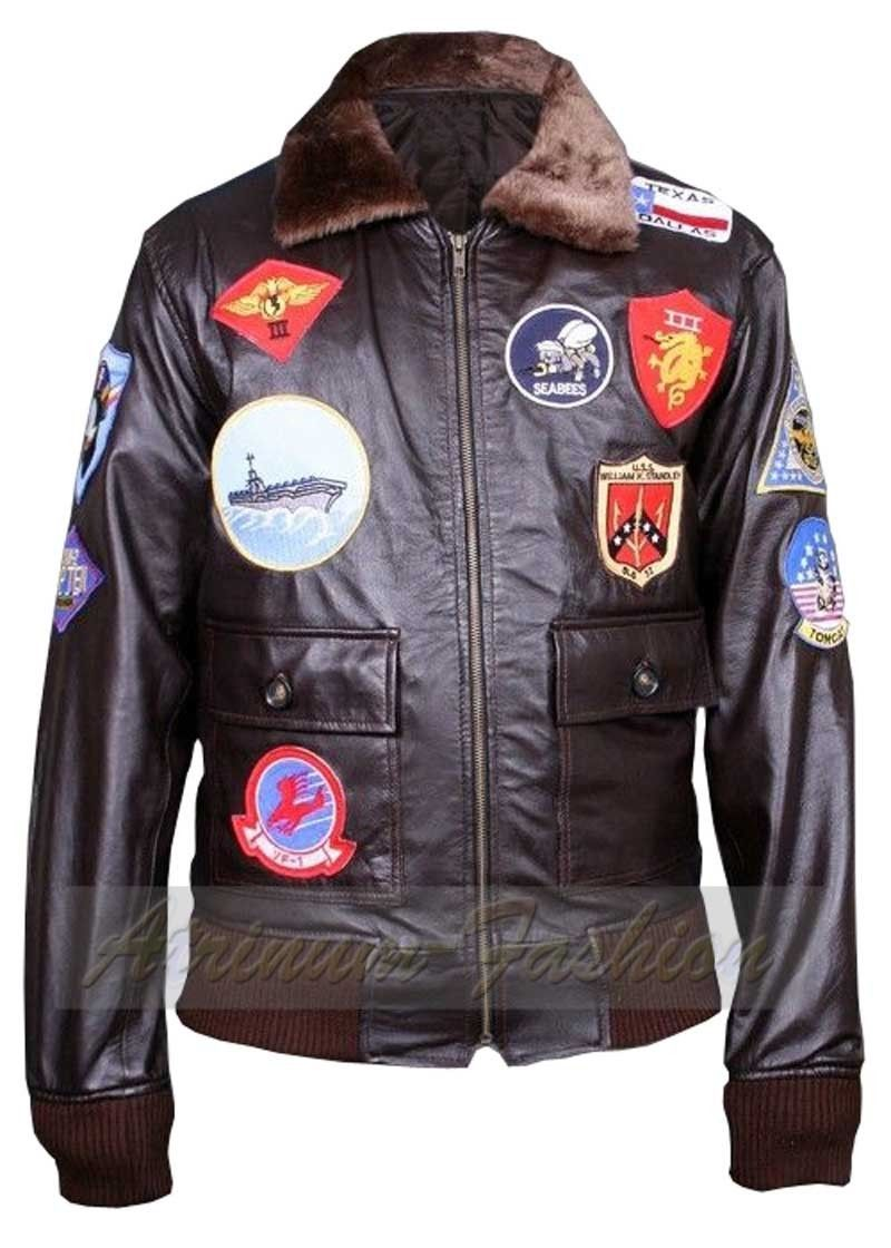 TOP GUN A2 Men's Jet Fighter Bomber B1 Navy Air Force Pilot Leather Jacket