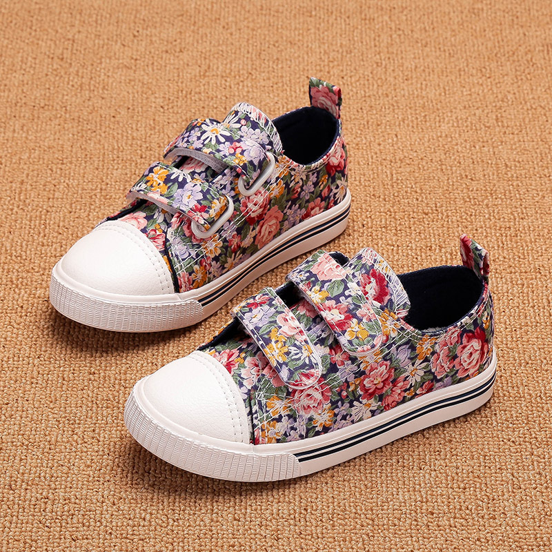 10-93(2) 2017 Spring children casual shoes fashion baby flower printing canvas shoes