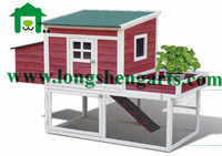 Wooden chicken house with planting area