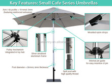 High quality professional outdoor small cafe umbrella for sale with pulley system