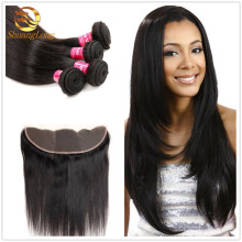 8A Grade virgin Brazilian hair weaving cheap peruvian virgin hair bundles with lace frontal closure