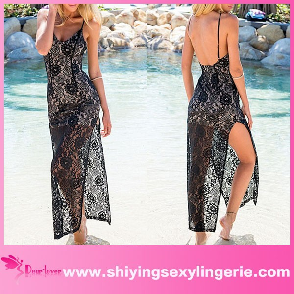 wholesale Black Backless with Side Split Lace Maxi Dress