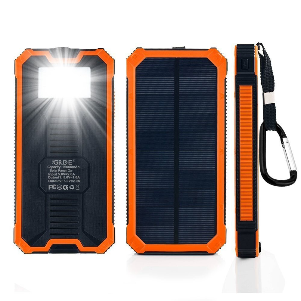 Portable External Battery Charger Flashlight 10000mah Solar Power Bank with torch