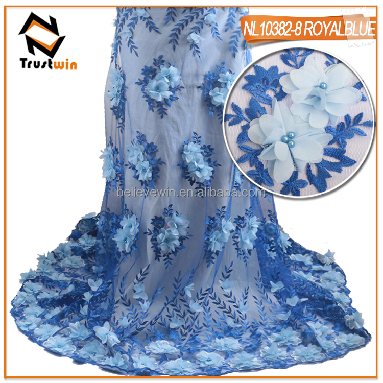 3d flower lace embroidered fabric tulle lace wedding dress NL10382
