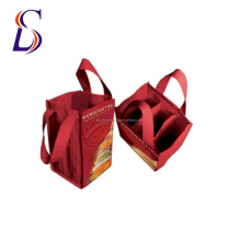 Tote Non Woven Material Reusable Wine Bag For Glasses Bottles
