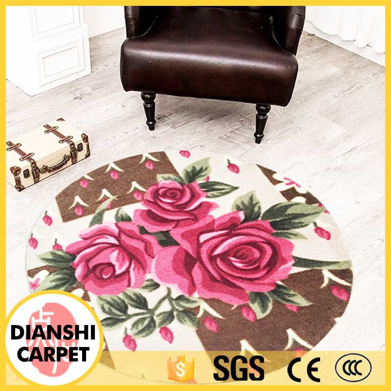Anti-slip Modern Printed Living Room Round Area Rugs Wholesale