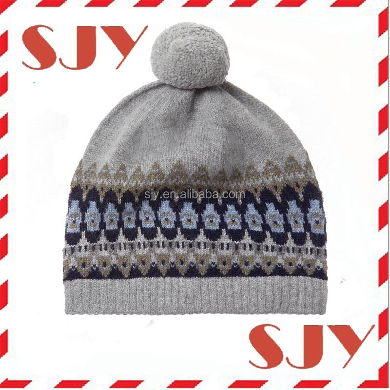 custom arcylic jacquard soft feel knitted boy pom pom beanie hat