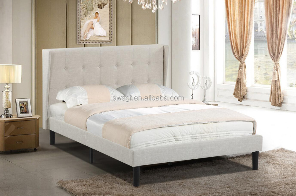 Favela Linen Modern Bed with Upholstered Headboard, King, Beign