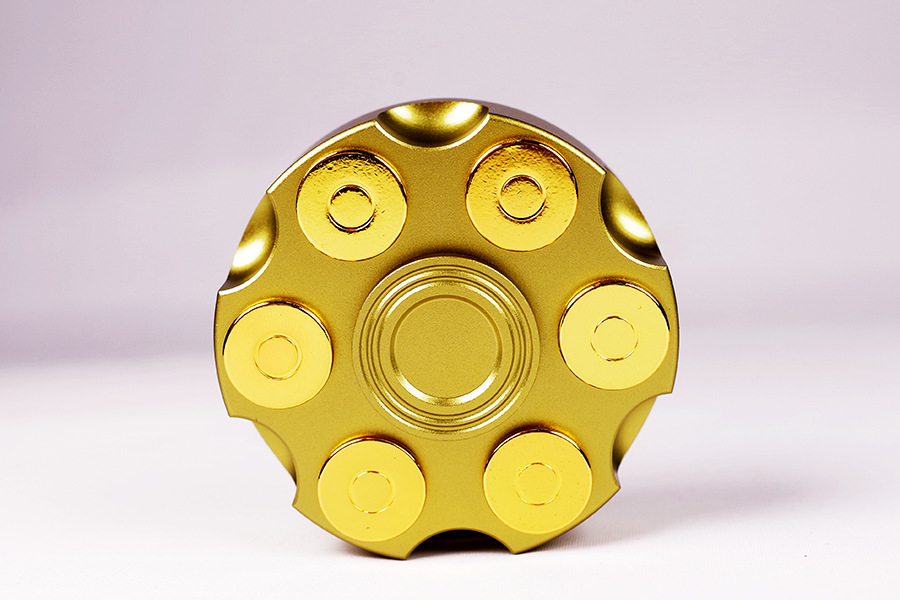 2017 Newest Metal Revolver Fidget Hand Spinner With Gold Brass Bullet