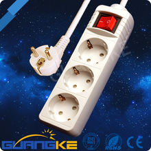 3 way EU standard european electric socket, power strip, schucko extension socket