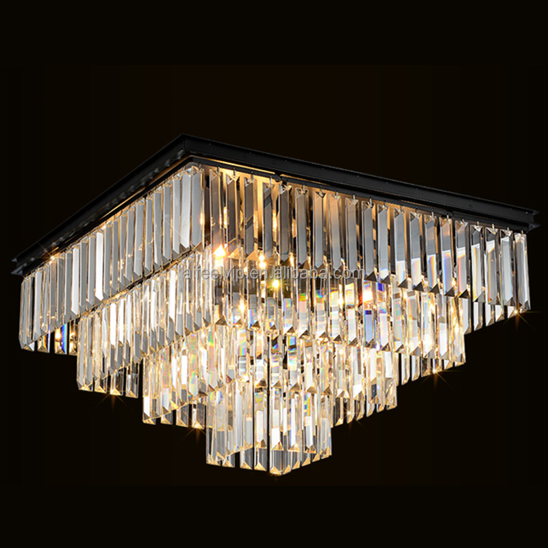 Italian large black square chandeliers pendant light modern k9 crystals hanging chandeliers pendant light