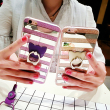 For iPhone 6 Ultra slim Ring Hold Phone Case,For iPhone 6 Plus Glitter Bling Back Cover Case