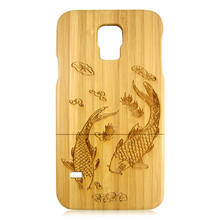 Carbonized bamboo wood phone case custom personal design back cover beautiful carving back case for Samsung S5