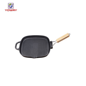 Pre-Seasoned Heavy Duty Construction 8-inch nonstick Cast Iron Square Grill Pan with folding wooden handle