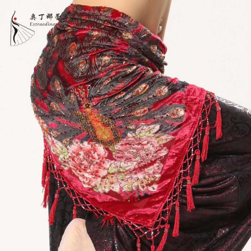 8 Colors Tribal Fusion Dance Wear Triangle Belt Peacock Feather Print Velvet Fabric Beads Tassel Women Belly Dance Hip Scarf