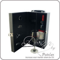 2014 Alibaba China supplier high end gift box custom two bottle cardboard leather wine carrier box