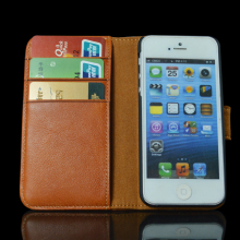 The latest genuine cow leather book wallet cover for iphone 5s case