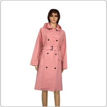 Pink EVA waterproof raincoat for adult outdoor wear raincoat with belt for women