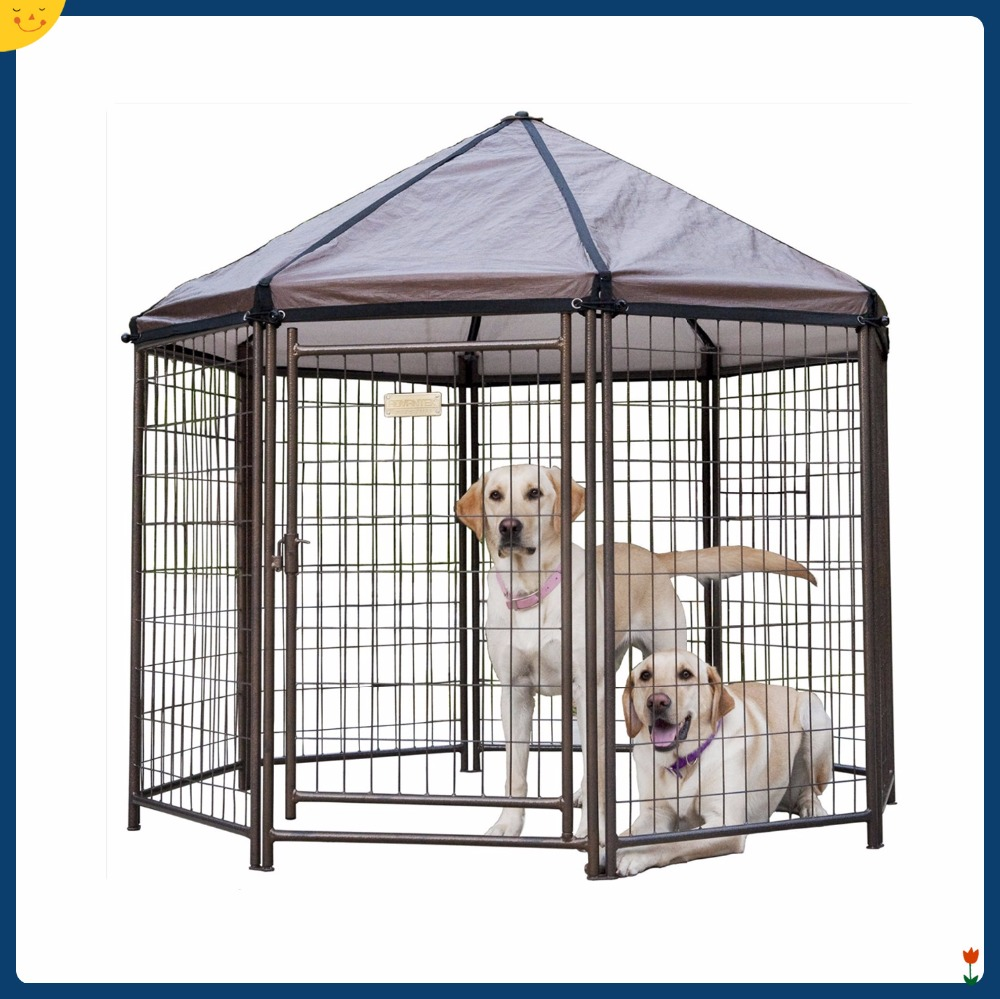 Outdoor Dog Gazebo Shelter Kennel Pet Enclosure Shade Cover Crate House Cage